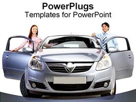 PowerPoint template displaying couple stand with their new car
