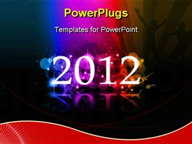 PowerPoint template displaying the celebration of new year 2012 with multicolored background