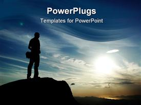 PowerPoint template displaying man figure standing on top of mountain at dusk