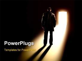 PowerPoint template displaying business Metaphor - businessman walking towards door in the background.