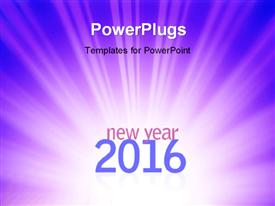 PowerPoint template displaying new year 2016 text on abstract blue rays background