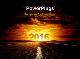 PowerPoint template displaying road to new year 2016 with beautiful sky in the background