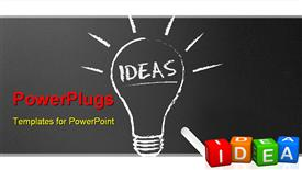 PowerPoint template displaying dark chalkboard with a ideas light bulb depiction