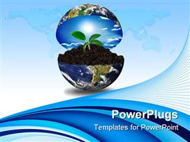 PowerPoint template displaying blue earth globe opening up to display sprouting plant in soil