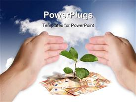 PowerPoint template displaying hand protecting green plant sprouting from currency notes on white surface