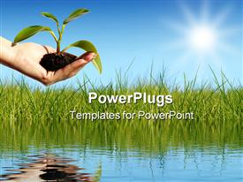 PowerPoint template displaying plant in hand over blue sky. New life concept in the background.