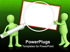 PowerPoint template displaying green figures holding gigantic magnifying lens against white board