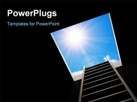 PowerPoint template displaying ladder inside pit leading to bright light in blue sky depicting freedom