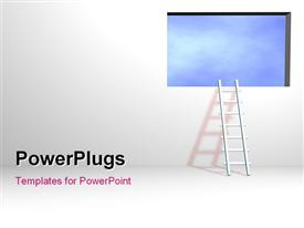 PowerPoint template displaying ladder leading to Sky can be used for web or print