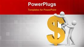 PowerPoint template displaying a character helping another on top of a yellow dollar sign