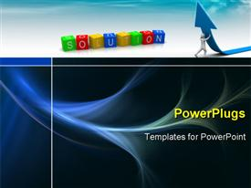 PowerPoint template displaying a person trying to lift the arrow with   bluish background