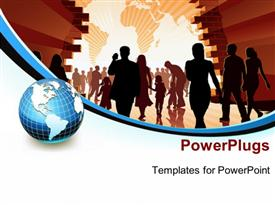 PowerPoint template displaying silhouette of people holding hands with world map in background and earth globe