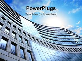 PowerPoint template displaying a side view of a high building and a clear sky