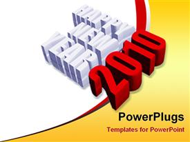 PowerPoint template displaying 3D happy new year text for year 2010