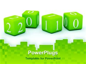 PowerPoint template displaying green blocks depicting 2010, white background