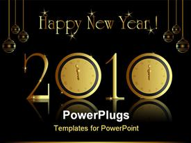 PowerPoint template displaying 2010 new year card with midnight clock