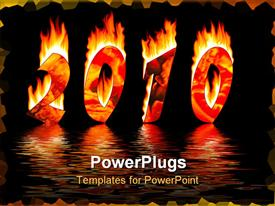 2010 new year numbers in fire reflected water powerpoint design layout