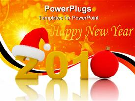 PowerPoint template displaying new year celebration 2010 text Santa cap