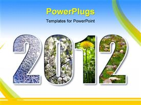 PowerPoint template displaying 2012 digits title with seasons background over white