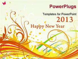 PowerPoint template displaying happy new year celebration year 2013