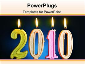 PowerPoint template displaying burning candles 2010 close up