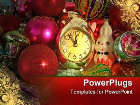 PowerPoint template displaying clock and ornaments for a Christmas tree in the background.