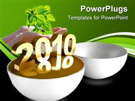 PowerPoint template displaying two white bowls with a text that spells out the word