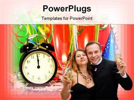 PowerPoint template displaying couple celebrating with champagne in the background.