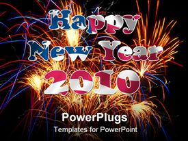 PowerPoint template displaying firework with Happy New Year letters inside in the background.