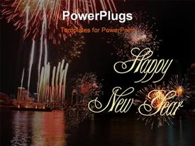 PowerPoint template displaying night view of lots of fire works lit in the sky