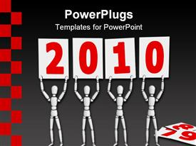 Four white lay figures welcome the new year 2010 by holding posters with red numbers template for powerpoint