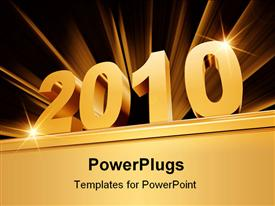 PowerPoint template displaying 3D golden 2010 on bold base with golden rays on dark background