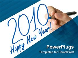 PowerPoint template displaying hand draws 2010 on a white board