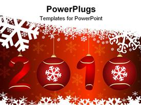 Happy new year 2010 with Christmas balls and snowflakes powerpoint template