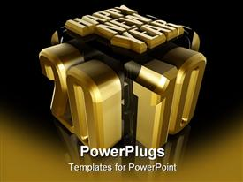 PowerPoint template displaying 3D golden happy new year 2010 innovative display on gold and black background