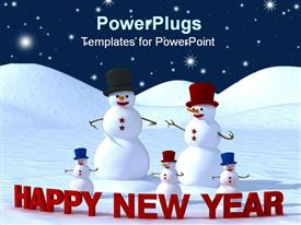 PowerPoint template displaying happy new year from happy family of snowman in the background.