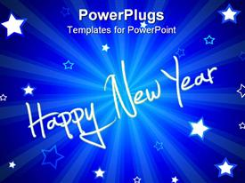 PowerPoint template displaying happy New year text with white stars on blue