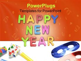 PowerPoint template displaying happy New Year and Party Favors on Plain Background in the background.