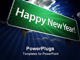 PowerPoint template displaying green sign post with happy new year words on sky background