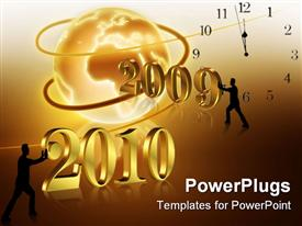 Illustration for the coming New Year and Holidays with golden numbers and silhouetted men pushing template for powerpoint