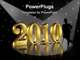 PowerPoint template displaying depiction for New years eve card greeting or elegant party invitation with gold numbers 2010