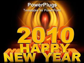 PowerPoint template displaying inscription Happy new year and 2010. A material gold on a white background with a shadow