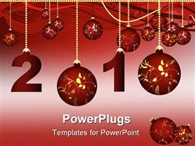 PowerPoint template displaying christmas balloons with golden chain holding the year 2010
