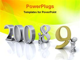 PowerPoint template displaying new year in the background.