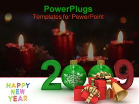 New year 2009. 3D image template for powerpoint