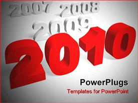 PowerPoint template displaying 3D writings of years with a red text that spells out the word