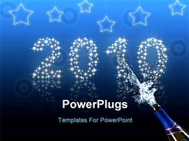 New year- 2010- blue background with stars powerpoint design layout