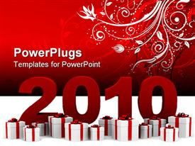 PowerPoint template displaying new year 2010 with gift boxes