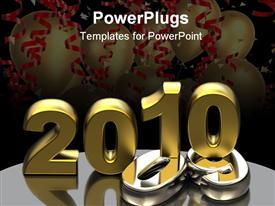 PowerPoint template displaying new year 2010 shape on reflective ground