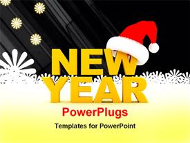 PowerPoint template displaying yellow new year text with Santa cap and snow flakes in background